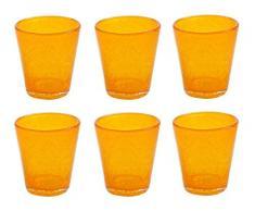VILLA DESTE Juego de 6 Vasos de Agua Cancún, en Naranja