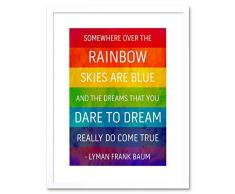 Wee Blue Coo Somewhere Over Rainbow Frank Baum - Cuadro de Pared con Marco de Grunge