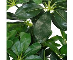 Leaf Árbol de Flores Artificiales de Schefflera Arboricola con Paraguas de plástico Negro, Verde, 55 cm de Planta Oscura