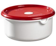 Curver 168433 Air Topps - Tartera redonda apta para microondas (polipropileno), color blanco y rojo, polipropileno, blanco y rojo, 2,25 L