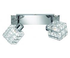 Reality Leuchten R81352106 - Lámpara de techo (dos focos, aluminio con base de cromo, 25,5 x 10 cm, incluye 2 bombillas de 28 W y casquillos G9)