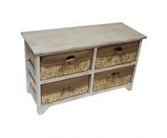 JVL - Joyero de maíz Natural unidad de almacenamiento armario con forro de tela, madera, madera, 42 x 27,5 x 71,5 cm