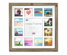 Inov8 16 x 40,64 cm Insta-Frame Marco para Instagram 13/de Estampado a Cuadros de Fotos con paspartú Blanco y Blanco con Borde, 2 Unidades, Madera de Fresno con rústico