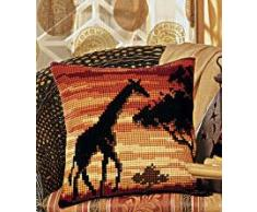 Vervaco Plantilla para cojín de punto de cruz, diseño de jirafa en puesta de sol, multicolor