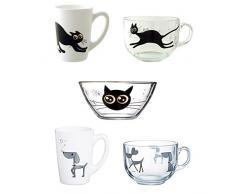 Luminarc Mistigri-Mabrouk Set 5 tazas desayuno mugs originales tazones infantiles de vidrio para microondas