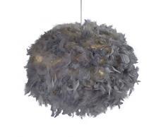 Lighting Collection - Pantalla para lámpara de techo, diseño de bola de plumas, color gris