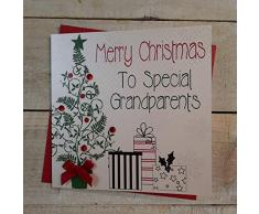 White Cotton Cards Merry Christmas to Special Grandparents tarjeta hecha a mano en forma de árbol de navidad y regalos