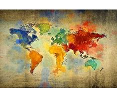 Homemania - Cuadro mapamundi Multicolor, de Tela 100% algodón, Marco de Madera. Decoración para el hogar. para salón, Oficina, Pared, mapamundi, Talla única