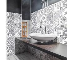 Ambiance-sticker Pegatinas de Azulejos Adhesivas – Adhesivo de Azulejos de Cemento – Decoración de Pared para baño y Cocina – 20 x 20 cm – 9 Piezas