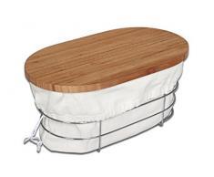 Inalsa 6336 Cesta panera con tabla cortapan, bambú, marrón