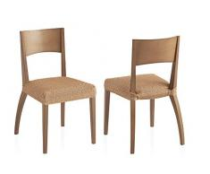 Bartali Pack Dos Fundas elásticas sillas Olivia - Color beige -Tamaño (45 x 45 cm).