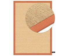 benuta Sisal Teppich mit Bordüre Orange 140x200 cm   Naturfaserteppich für Flur und Wohnzimmer Alfombra, Naranja, 140 x 200 cm