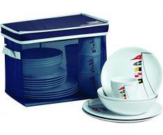 Marine Business Regata Pack de vajilla con Cesta Rectangular, Melamina,, 34.5 x 25.5 x 26 cm, 25 Unidades