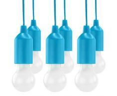 HyCell Pull Light-Juego de 6con interruptor de cordón Incluye Pilas AAA-Portátil LED Bombilla Blanco Cálido-mobile lámpara ideal para jardín cobertizo tienda camping desván Armario o fiesta decoración