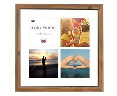 Inov8 16 x 40,64 cm Insta-Frame Marco para Instagram 4/de estampado a cuadros de fotos con paspartú blanco y blanco con borde, rústico de teca