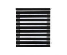 Blindecor Indus Estor Enrollable Doble Tejido Noche y Dia Easy Fix, Negro, 52 X 180 cm