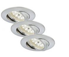 Briloner Leuchten LED empotrada conjunto de 3, foco, intensidad regulable, orientable, baja profundidad de 3 cm, conexión directa 230 V, aluminio 7232-039
