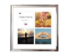 Inov8 16 x 40,64 cm Insta-Frame Marco para Instagram 4/de estampado a cuadros de fotos con paspartú blanco y blanco con borde, acabado cromado