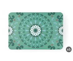 Excelsa Mandala - Juego de 6 manteles Individuales, Color Azul, 43 x 29 cm, 6 Unidades