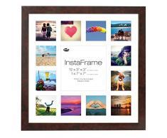 Inov8 16 x 40,64 cm Insta-Frame Marco para Instagram 13/de estampado a cuadros de fotos con paspartú blanco y blanco con borde, madera de nogal brillante