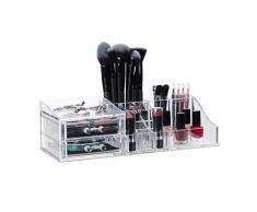 Relaxdays Maquillaje acrílico, Organizador de cosméticos, Dos Cajones,Transparente, 9 X 30,5 X 15 cm