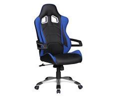 Amstyle velocidad Racing funda tipo libro para silla de escritorio azul y negro de oficina giratoria de espalda alta de