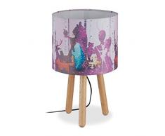 Relaxdays Lámpara de Mesa Infantil, Pantalla cilíndrica, Trípode, Bosque, 41 x 25 cm, Madera, 41.5 x 25 cm