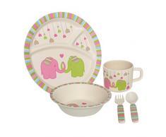 Premier Housewares Vajilla para niños, Multicolor, Set de 5, bambú, multicolor, 21 x 21 x 9 cm