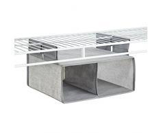 InterDesign - Aldo - Organizador de cajón Colgante para Almacenamiento en Armario - 2 compartimientos - Gris
