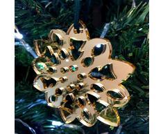 Super Cool Creations Copo de Nieve Esponjoso Espejo Dorado Decoraciones de árbol de Navidad - Pack de 10