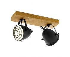 EGLO Gatebeck Lámpara de Techo con focos E14, 40 W, Negro, Madera