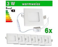 6 x LEDVero funda utlrafina Panel LED 2835 SMD 3 W cuadrado luz blanca cálida luz ultrafino para techo