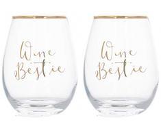 Creative Tops C000252 Bestie - Copas de vino decoradas sin tallo