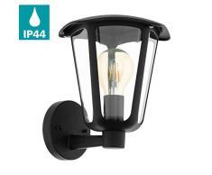 EGLO 98119 iluminación de pared Adecuado para uso en exteriores Negro E27 - Lámpara (Cepillado, 1 bombilla(s), E27, IP44, Negro)