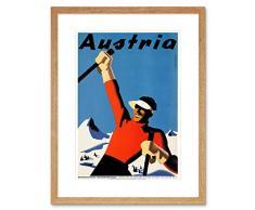 Wee Blue Coo - Cuadro de Pared con Marco de esquí, Color Azul