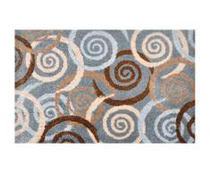 Alfombrilla LifeStyle 100406 Espirales, felpudo antideslizante y lavable, ideal para la entrada, el armario o la cocina, 50 x 75 cm, gris / marrón / beis
