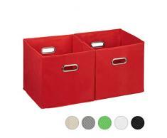 Relaxdays Cajas de almacenaje, Set de Dos cestas, Sin Tapa, con Asas, Plegable, Cuadrado, 30 cm, Rojo, poliéster, cartón