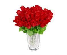 Relaxdays Rosas Artificiales, 48 Unidades, Ramo Flores con Tallo y Hojas, Adorno Floral, Poliéster, 26 cm de Alto, Rojo