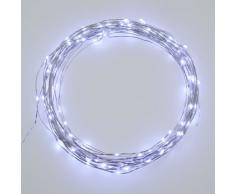 Cadena de 12 m, 120 microLED blanco frío, cable de metal, luces para árbol de Navidad, decoración, luces navideñas