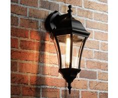 Elegante aplique de pared para exteriores negro WARSCHAU vidrio aluminio H:44cm Lámpara de jardín Balcón Terraza