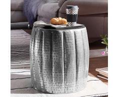 Wohnling mesa auxiliar Jamal 38x 42x 38cm Aluminio Plata redondo con motivos orientales, pequeño sofá mesa metal, Diseñador estante mesa Modern, anstell mesa estrecho, Salón Mesa Mesa, 47x 47x 48cm