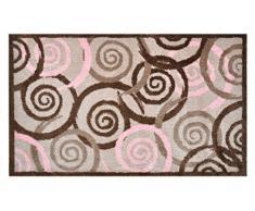 Alfombrilla LifeStyle 100314 Espirales con bordes, felpudo antideslizante y lavable, ideal para la entrada, el armario o la cocina, 67 x 110 cm, marrón / rosa
