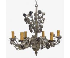 Better & Best 1222090 Lámpara techo con 6 luces con adorno de hojas de chapa de hierro, color: topo