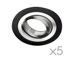 Wonderlamp W-E000140 Pack 5 focos empotrables classic redondo negro, Unidades, 5