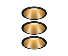 Paulmann 93404 Cole-Foco LED redondo 3 focos empotrables de 6,5 W, intensidad regulable, color negro, dorado mate, plástico, aluminio y zinc, 2700 K, 3 unidades