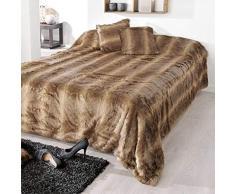 Linder 5056/841/50-Juego de Colcha y sofá imitación de Piel, acrílico y poliéster, 150 x 200 cm, Color marrón
