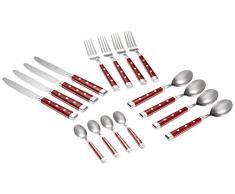 Pradel Excellence 2075R-16 - Cubertería (16 piezas, láminas acero inoxidable), color rojo