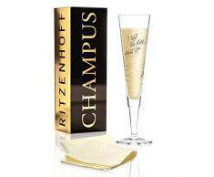 RITZENHOFF Champus - Copa de champán de Natalia YablunOraca, de cristal, 200 ml, con noble oro y platino, incluye servilletas de tela