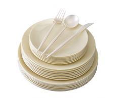 Silver Spoons 1966 VAJILLA DE PLÁSTICO DESECHABLE   156 Piezas Grandes Ensalada   20 Platos de Postre   48 Tenedores cucharas   24 Cuchillos (Opulence-Crema)