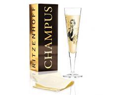 RITZENHOFF Champus - Copa de champán de cristal (La Parisienne), 205 ml, con elegantes elementos dorados, incluye servilleta de tela